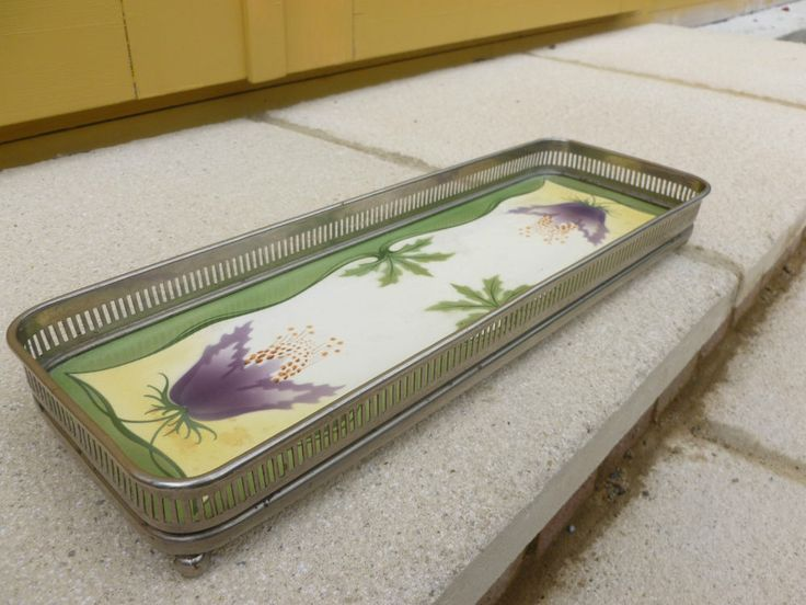 Antique WMF Style Galleried Ceramic Tray - German Secessionist Art Nouveau Style