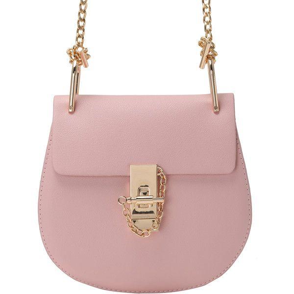 Pink Metallic Embellished PU Chain Bag ($25) ❤ liked on Polyvore featuring bags, handbags, shoulder bags, pink, metallic purse, pu purse, pink metallic purse, chain handbags and pu handbag