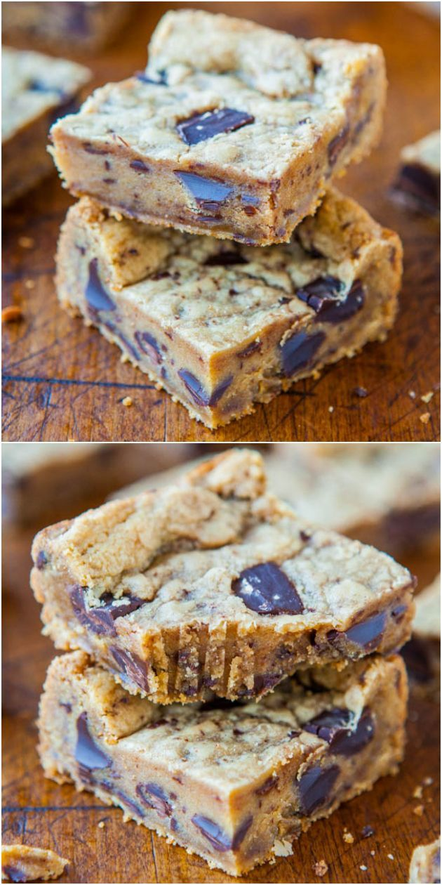 Peanut Butter Chocolate Chunk Cookie Bars - Soft peanut butter bars with big chunks of chocolate in every bite! Bonus - bars are faster & easier than making cookies!