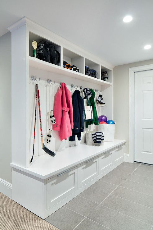 mudroom locker design; gray tile floors