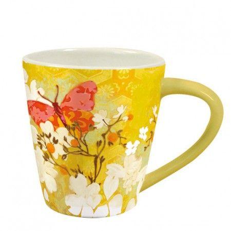 Garden of Plumes Safron Butterfly Artisan Cafe Mug , 2121010 | Lang