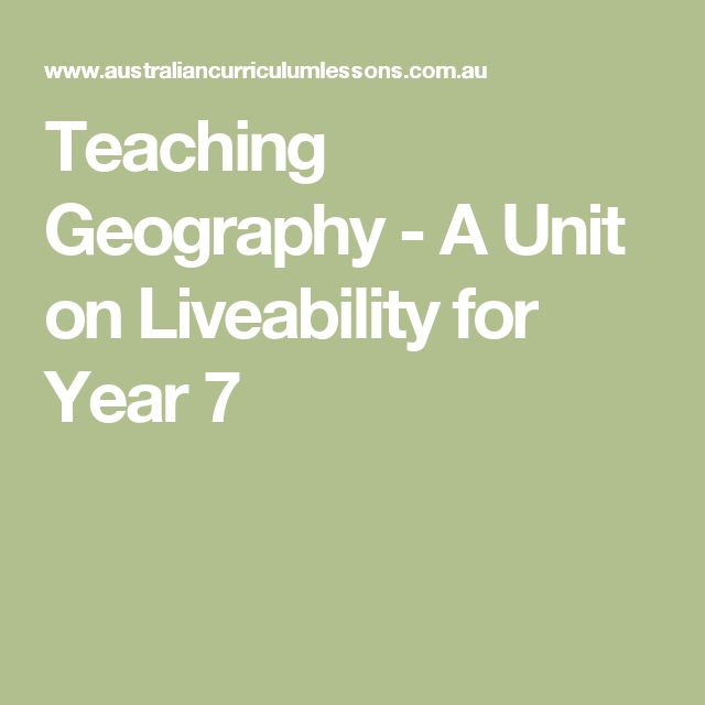 Teaching Geography - A Unit on Liveability for Year 7