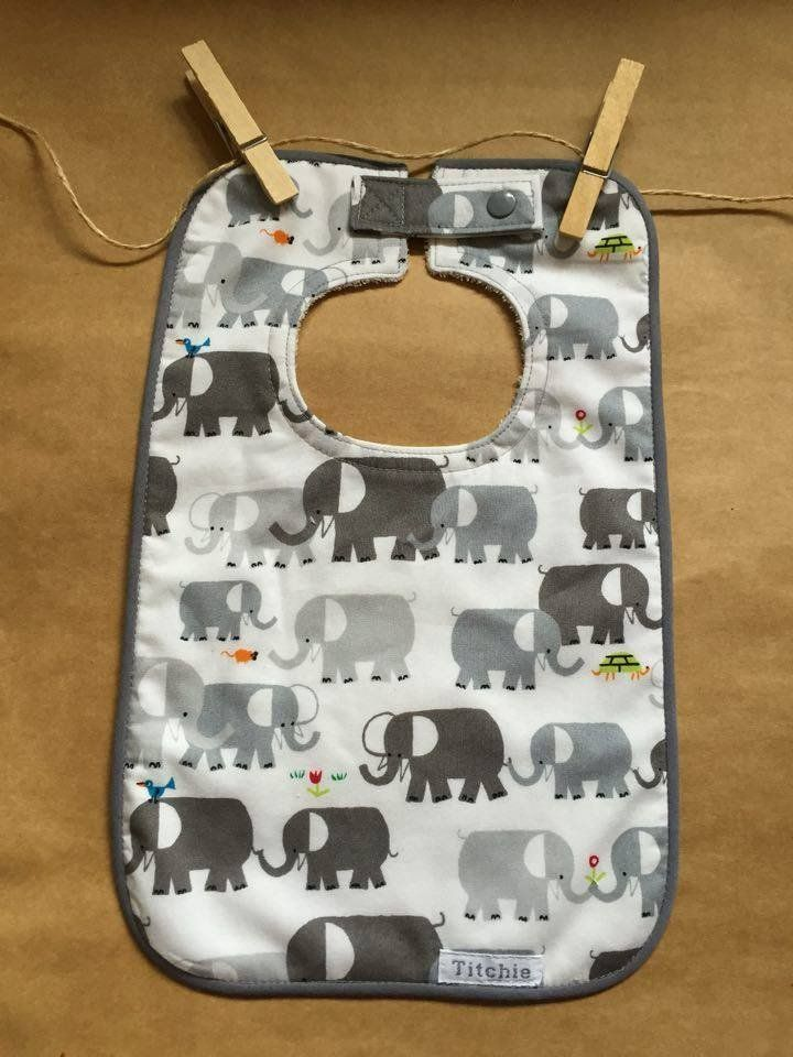 Bamboo Bib with Organic Cotton Print - Elephants. With highly absorbent organic bamboo double towelling on the back and organic cotton print on the front.