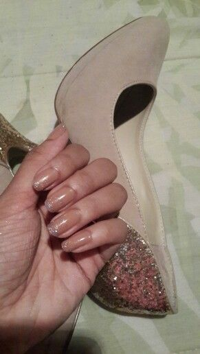 Nude glitter nails & heels