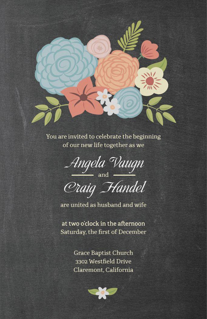 Chalkboard Wedding Invitation   Vistaprint