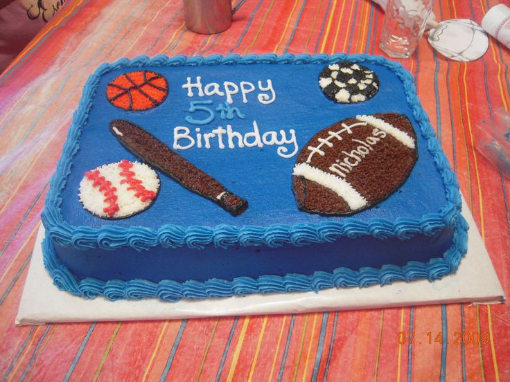 All Sports cake - Little boy had an all sports birthday party. Made the cake to match the invitation.