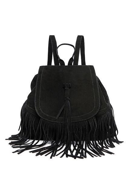 Tassel Backpack #black #schwarz #fransen #velours