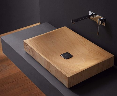 wooden sink by bandini modern bathroom