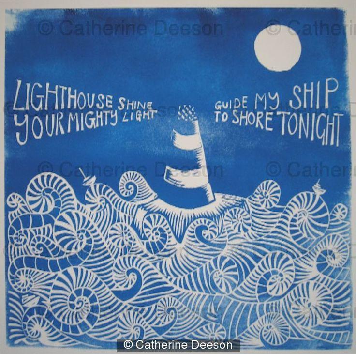 Lighthouse - blue light tide sea boats shore waves ship curls