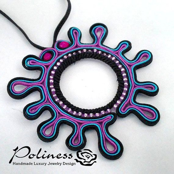 Jewellery Pendants Necklaces Soutache by PolinessJewelry