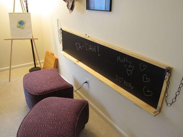 DIY wall-mounted work desk/chalkboard | Folds down to be a desk, folds up to be a chalkboard/white board