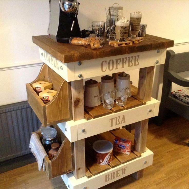handmade pallet coffee station
