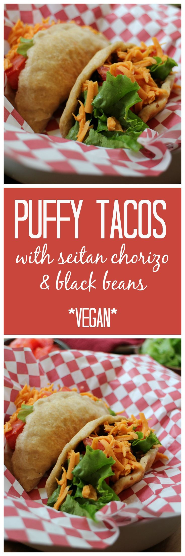 Fried puffy tacos with seitan chorizo & black beans. This crave-worthy meal was inspired by Tasty Tacos in Des Moines, Iowa. But this version is totally vegan! | cadryskitchen.com