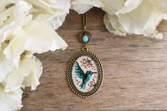 Hummingbird necklace Cross stitch necklace Cross stitch
