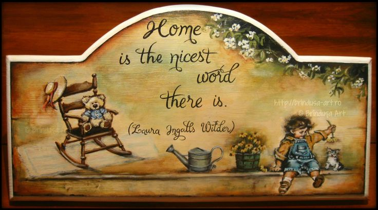 """""""Home is the nicest word there is."""" (Laura Ingalls Wilder) Acrylic painting on wood. One of a kind.  """"Acasă e cel mai frumos cuvânt care există."""" (Laura Ingalls Wilder) Pictură acrilică pe lemn. Unicat. #woodpainting #picturapelemn #home #cozy #warm #acasa #childhood  #copilarie #happiness #lauraingalls #oneofakind #unicat #handmade #inspirational #gift #cadou #BrindusaArt"""