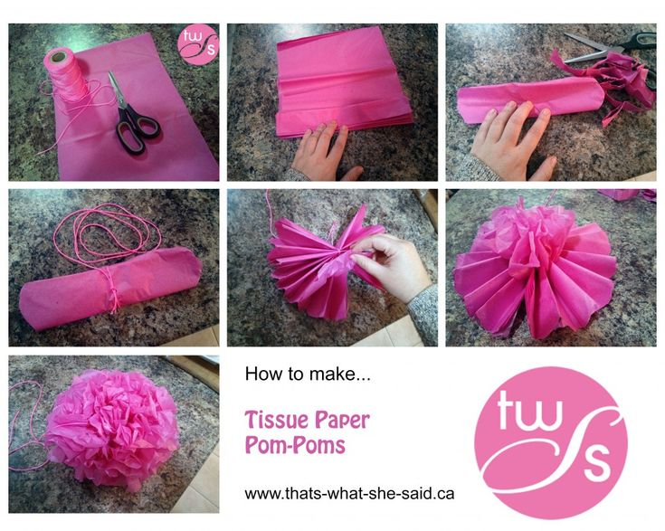 how to make tissue paper poms With scissors, trim ends of tissue into rounded or pointy shapes 3 separate layers, pulling away from center one at a time 4 tie a length of monofilament to floral wire for hanging napkin rings with just a few changes, these follow the same steps as the hanging pom-poms 1 stack four sheets of tissue.