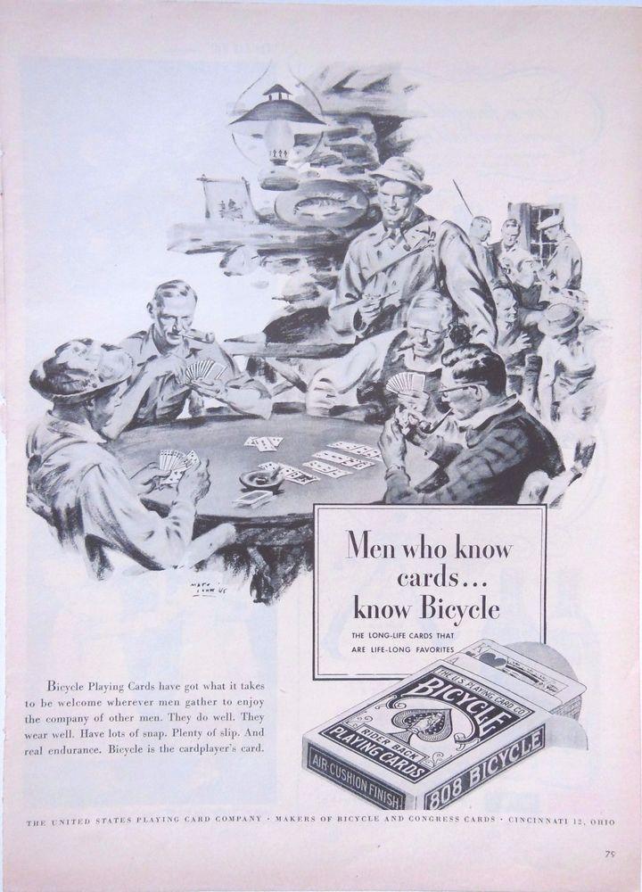 BICYCLE CARDS PACK ART AD RETRO POKER GAME 1940s original vintage advertising