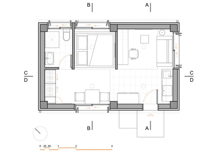 Small Apartment 30 sqm, Floor Plan - www.pzarch.gr