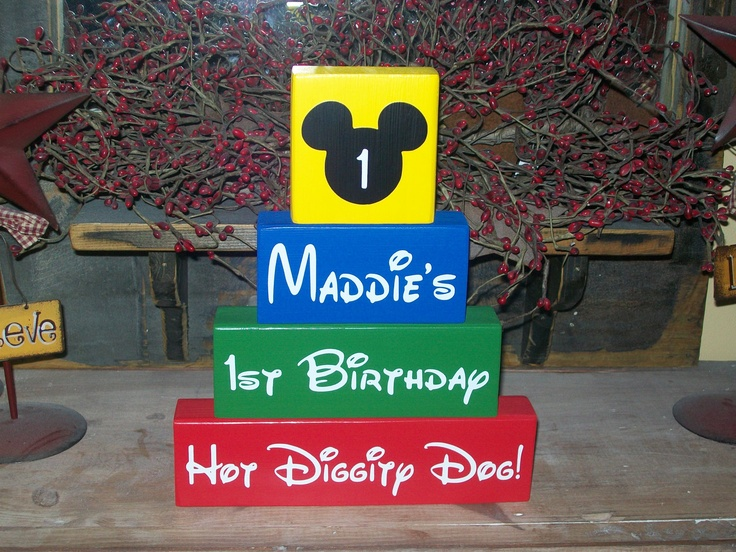 Personalized Four Piece Disney Minnie Mickey Mouse Clubhouse Happy Birthday Wood Sign Name Blocks 1st Birthday Party Centerpieces Keepsake. $25.99, via Etsy.
