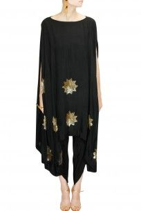 Black sequins stars cape with dhoti pants