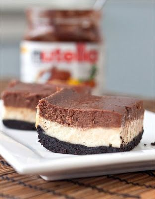 Nutella Cheesecake Bars - Oreo crust + Cheesecake+ Nutella? To-die! Took no time at all to make, either. What's not to love?