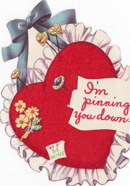 Vintage Valentine Card 'I'm Pinning You Down, Be Mine': Valentine Day Cards, Perfect Valentines, Valentine Cards, Valentine'S S Cards, Valentine'S Cards, Cards I M, Mine Valentine'S, Valentines Cards, Valentines Day Cards