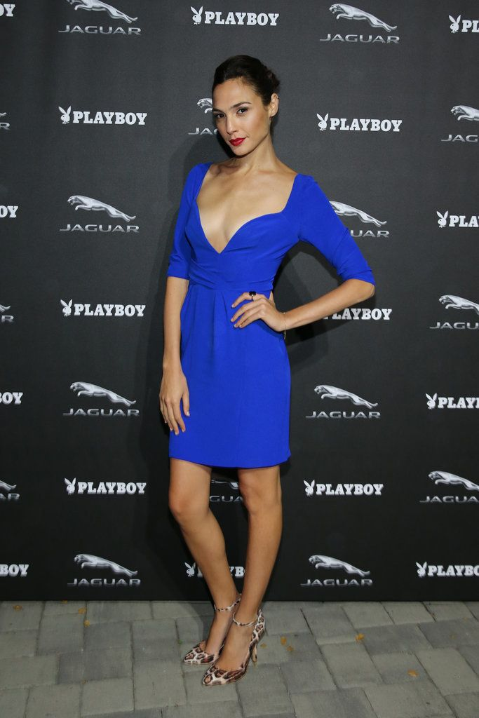 At the Jaguar and Playboy magazine exclusive VIP reception in 2013, the Wonder Woman star showed some cleavage in a low-cut blue dress.