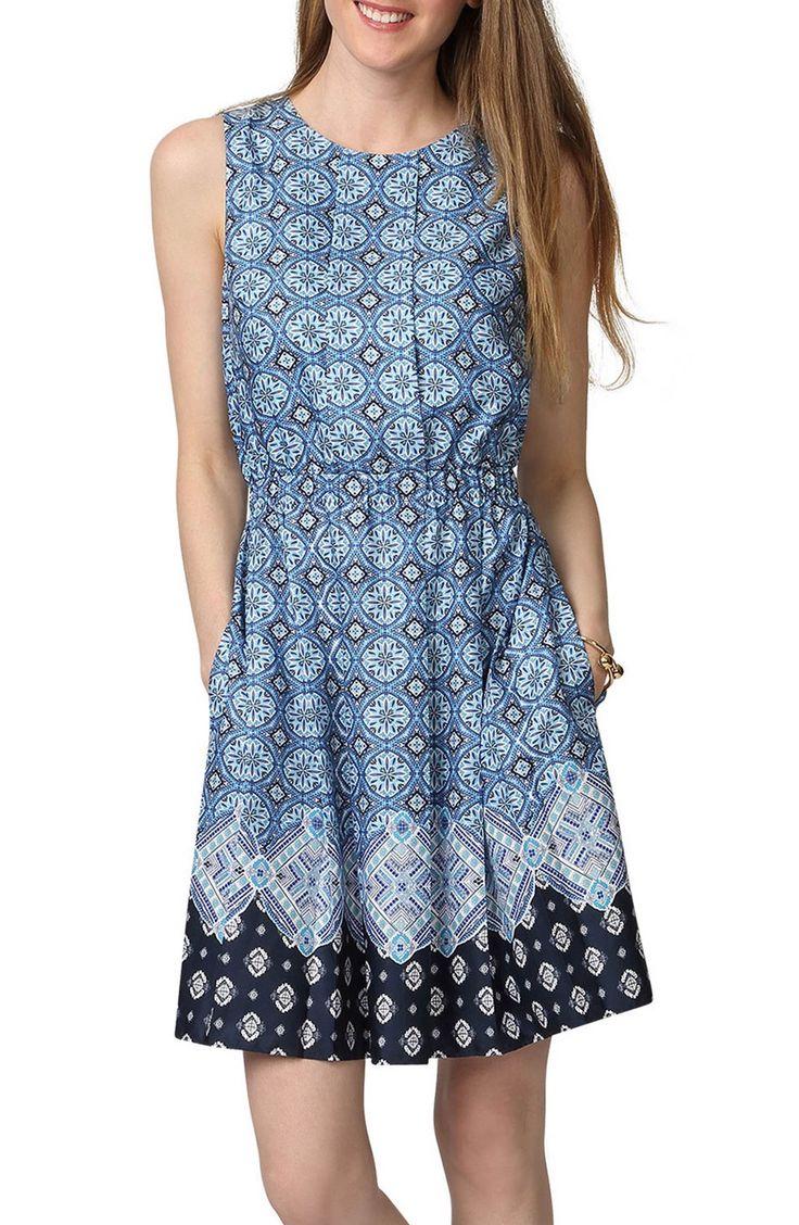 Main Image - Donna Morgan Border Print Fit & Flare Dress