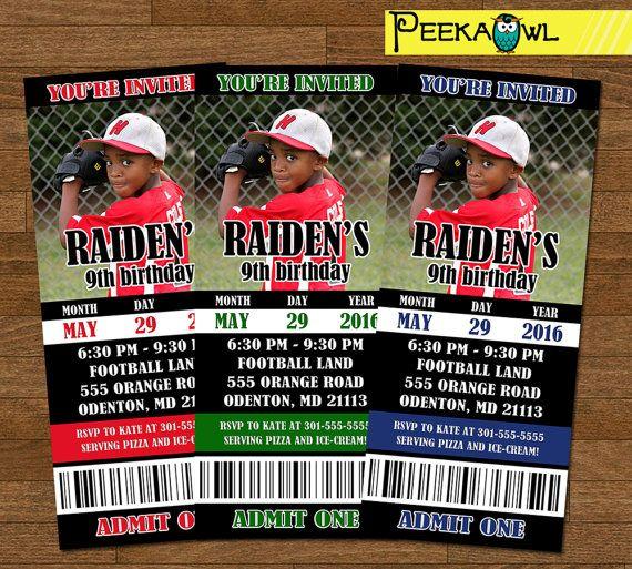 Personalized Boys Baseball invitation ticket  by PeekaOwl on Etsy