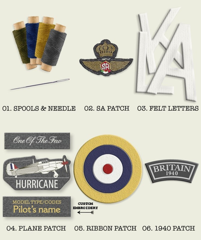 Hurricane Custom Kit  Hurricane Custom Kit A kit to customize your Squadratlantica fleecejacket, contains: - 3 x spool of thread - needle - Squadratlantica wings - 3 letters felt (8 cm height) - Hurricane badge - roundle badge - England 1940 badge £23