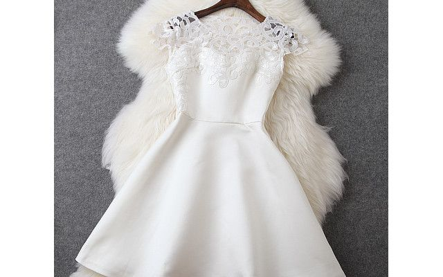 Beaded And Crochet Dress In White. This is so pretty! And could be a for back yard wedding!