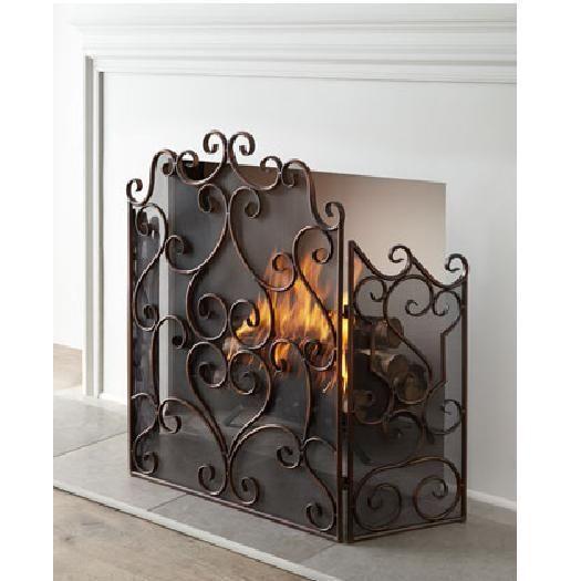 Kora Scrolled Metal Fireplace Screen 3 Panel Mesh Back Horchow
