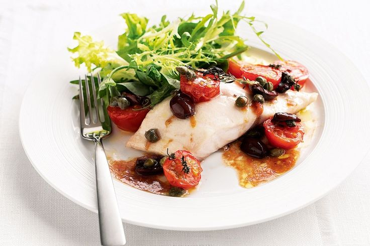 15 minutes baked fish with olives, tomato & capers. Rockling