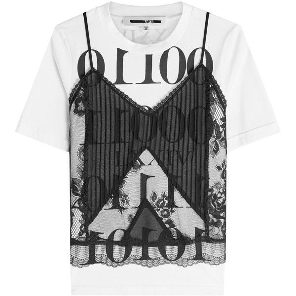 McQ Alexander McQueen Lace Cami and Cotton T-Shirt Top (£285) ❤ liked on Polyvore featuring tops, t-shirts, shirts, tees, multicolored, lace camisole, punk shirts, colorful t shirts, lace shirt and sheer t shirt