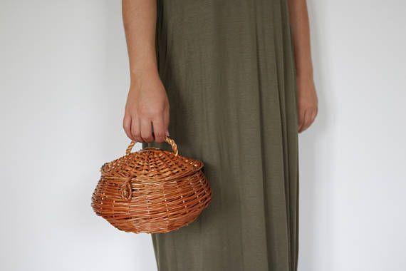 Wicker Basket Box, small, handwoven gathering basket, handmade, farmhouse decor, country decor basket, Home Decor.