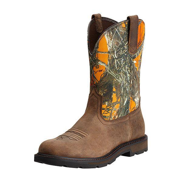 Workhog Camo/Orange Men's Work Boots by Ariat