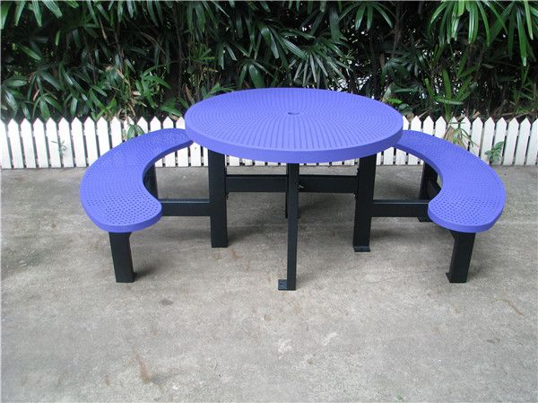 outdoor picnic table set. one table with two benches. with umbrella hole.