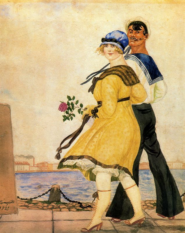 (via adski_kafeteri: Boris Kustodiev/Кустодиев Борис - Матрос и милая/Sailor and his sweetheart . 1921)