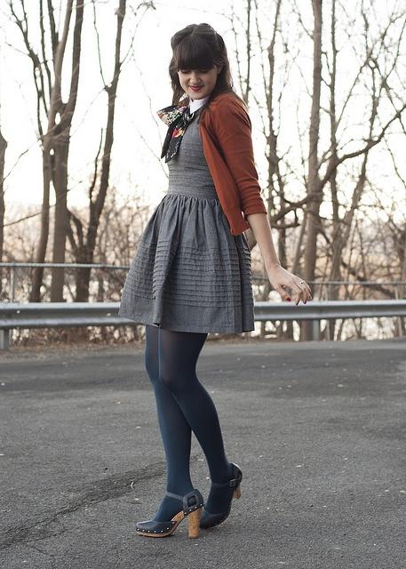 Grey Dress, Brown Cardigan, Navy Tights