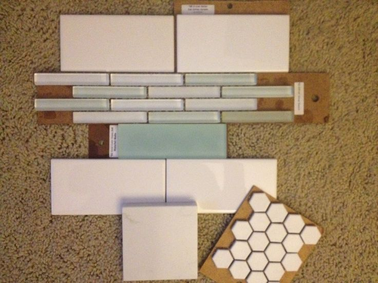 Tile pattern for master shower, and above tub: Mixture of white subway tile, small set of seaglass tiles and mid-sized rectangular seaglass solid tile. Use quartz for countertops, top of tub, top of windowsills in shower. White hex floor tile. Backsplash with smaller seaglass tiles and white subway tile.