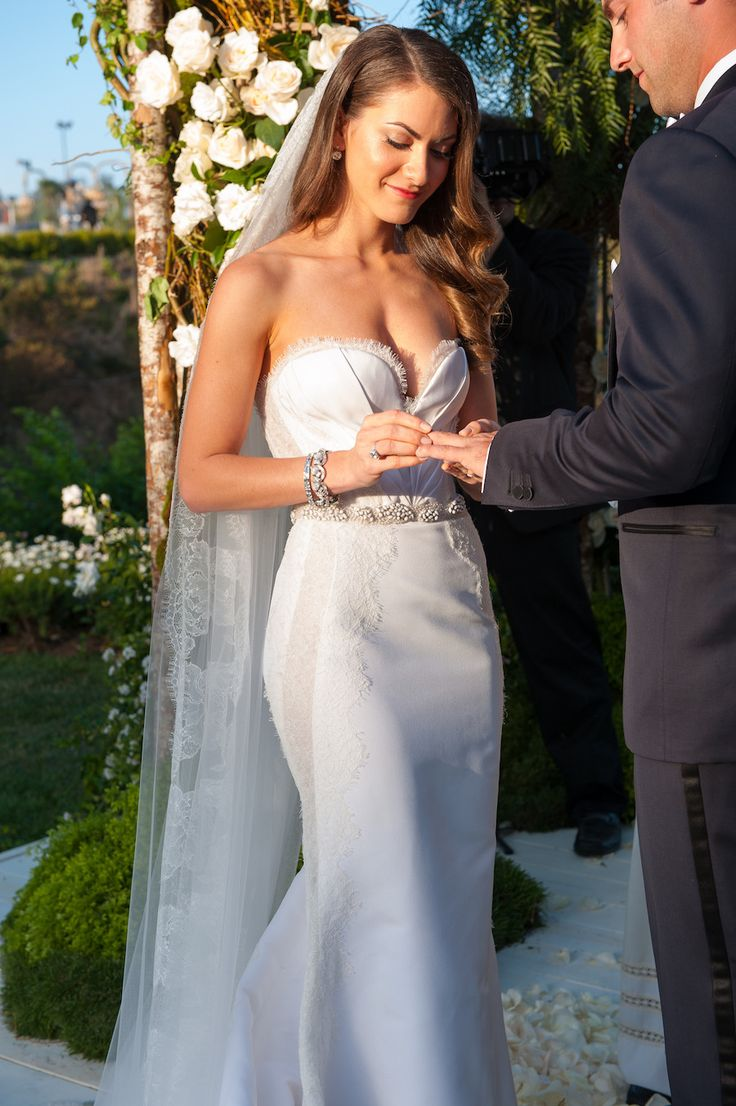 Wedding Gown by Giles Mendel of J Mendel -- See the wedding on #SMP here: http://www.StyleMePretty.com/2014/04/28/glamorous-garden-affair-in-beverly-hills/