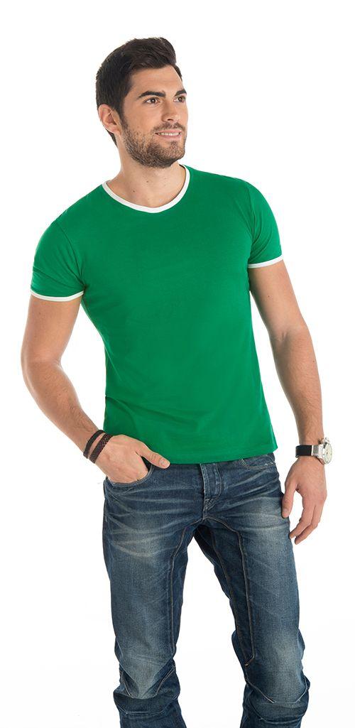 Camiseta Roly Dallas color verde kelly blanco
