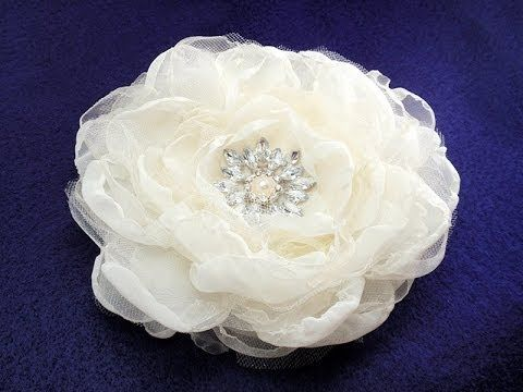 "one of my favorites. Fabric Flower, Rose Bloom 6"" using Chiffon and adding tulle and organza flowers in-between"