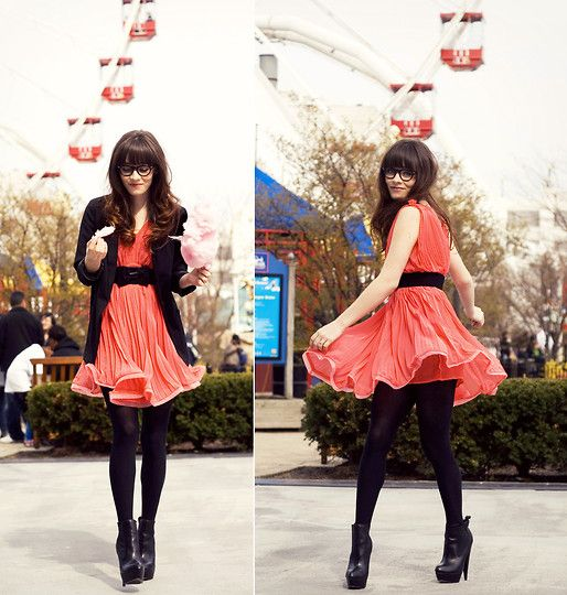H Blazer, Pink Dress From Http://Www.Romwe.Com, Tights, Asos Boots