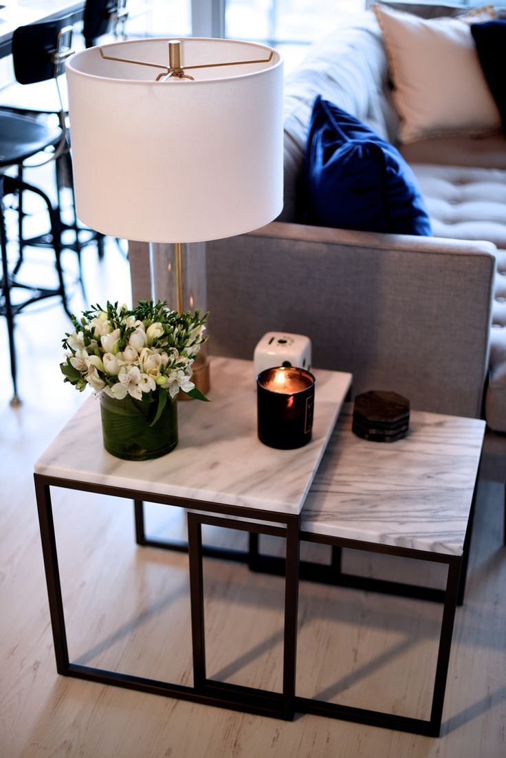 Great I Like The Marble End Tables (west Elm I Think) With The Grey Couch And  Blue Pillow