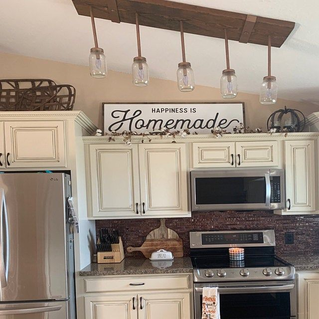 Happiness Is Homemade Wood Sign Kitchen Sign Homemade Etsy In 2020 Decorating Above Kitchen Cabinets Above Kitchen Cabinets Kitchen Cabinets Decor