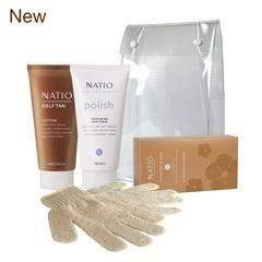 Natio Self Tan Lotion Kit by Natio. $24.97. Made with Plant Extracts: Lavender, Sweet Orange and Ylang Ylang to lock in moisture and help your tan last longer.. Self Tan Lotion Kit includes Self Tan Lotion (150ml), Exfoliating Body Scrub (150g), Tanning Wipes and complimentary Exfoliating Gloves.. Tan develops over three hours.. Natural Australian Beauty. The easy to apply, moisturising formula of the Self Tan Lotion works to complement your skin tone building a saf...