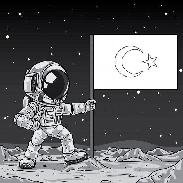 Okul Oncesi Ve Ilkokullarda Uzay Egitimi Icin Uzay Boyama Sayfasi Astronot Turk Bayragini Uzaya Dikiyor Uzay Boyama Sayfasi Astronot Boyama Astronot Sanat Ve Gezegenler