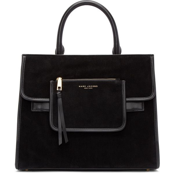 Marc Jacobs Black Suede Madison Tote ($600) ❤ liked on Polyvore featuring bags, handbags, tote bags, foldable tote bag, zippered tote bag, foldable tote, handbags totes and zip tote