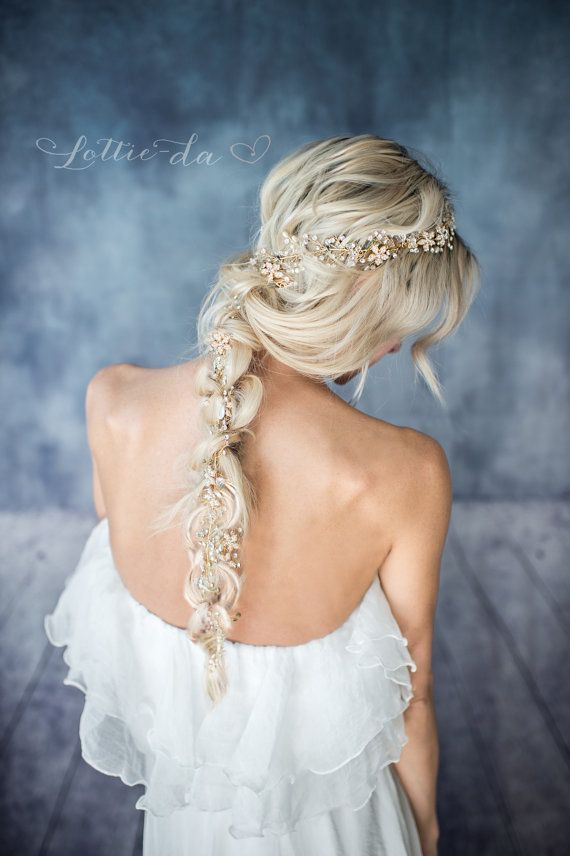 Wedding Hairstyles :   Illustration   Description   Gold Boho Extra Long Hair Vine Wedding Headpiece Bridal Hair    -Read More –   - #WeddingHairstyle https://adlmag.net/2017/09/28/wedding-hairstyles-gold-boho-extra-long-hair-vine-wedding-headpiece-bridal-hair-4/